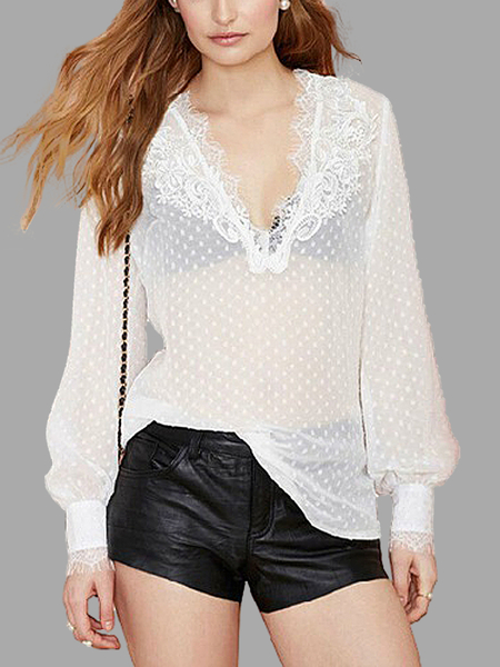Lacy V Neck Dot Blouse