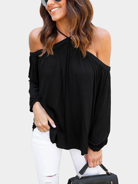 Black Sexy Halter Neck Long Sleeves Blouse