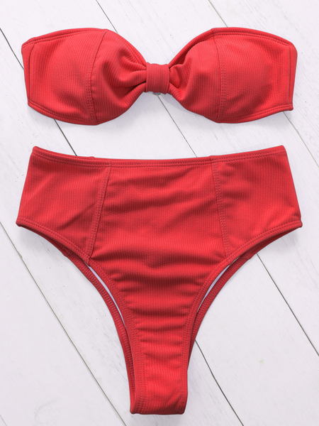Red Twist Design High Waist Bandeau Bikini
