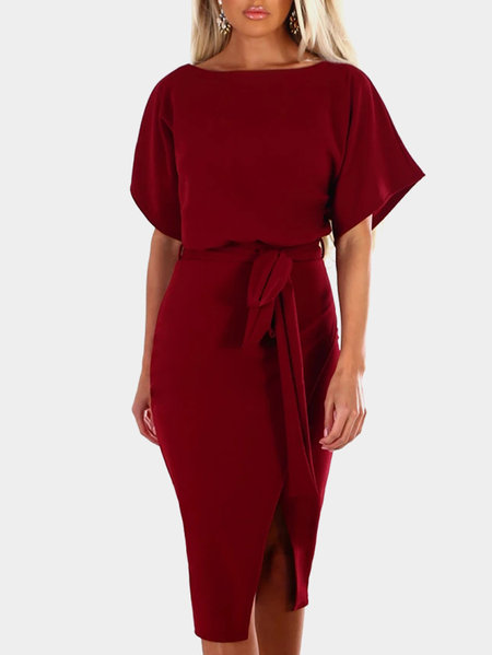 Burgundy Short Sleeves Splited Hem Midi Dress