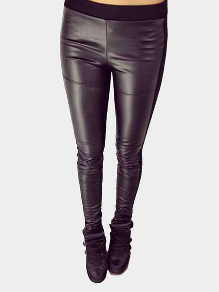 Black Leather Detalhes Leggings Stretch Fashion Leggings