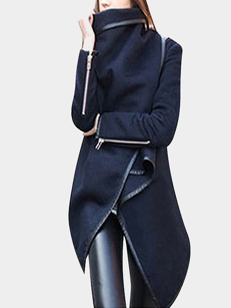 Blue High Neck Front verpackt Trenchcoat