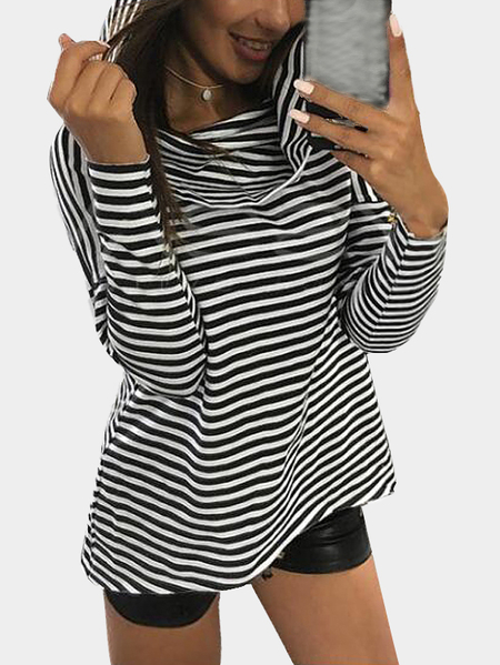 Black & White Stripe Pattern Irregular Hem Hooded Blouse