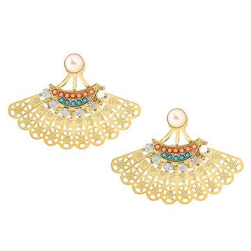 Gold Plated Fan-shaped Hollow Out Artificial Stone Stud Earrings