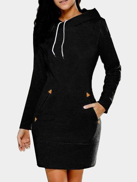 Black Side Pockets Design A Line Hoodie Dress