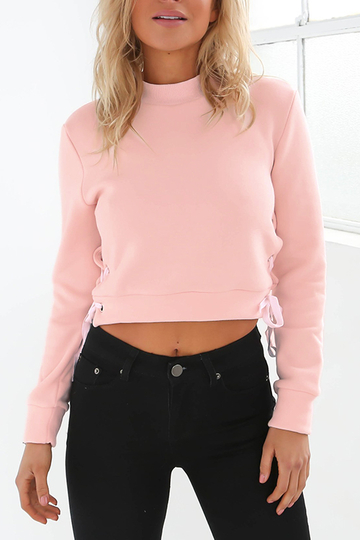 Pink High Neck Cropped Sweatshirt
