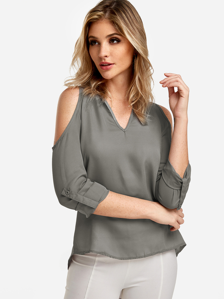 Grey Cold Shoulder Long Sleeves Blouse With Adjustable Shoulder Straps