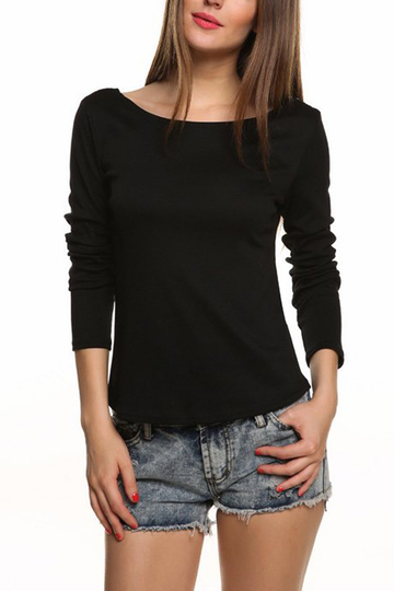 Black Blackless Long Sleeve Top with Lace Details