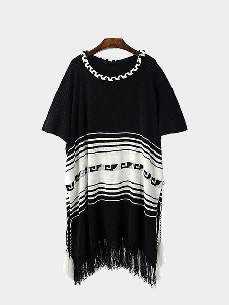 Stripe Bat Sleeves Knitwear with Tassel Hem