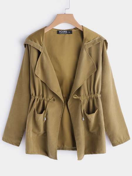 Khaki Hooded Drawstring Waist Trench Coat