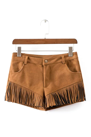 Khaki Suedette Shorts with Fringed Detail