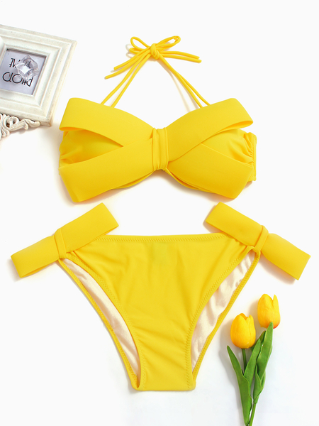 Bow Tie Design Bikini Set in Yellow