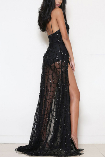 Tassels Sequins Splited Hem Maxi Slip Dress in Black