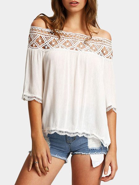 White Lace Details Off The Shoulder Half Sleeves Top