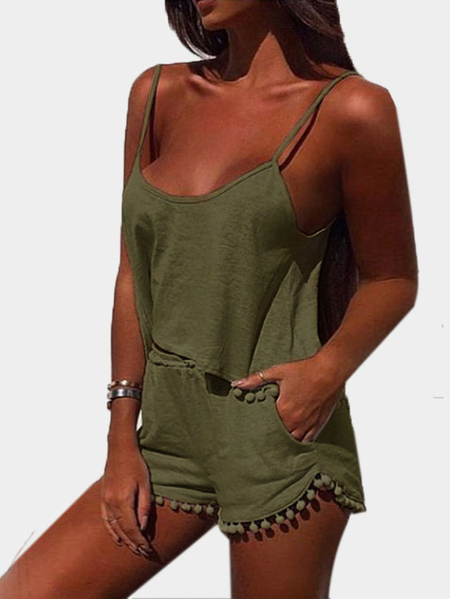 Armygreen Casual Sport Sleeveless Top e Elastic Waist Short Coordinate con Pom Pom Dettagli