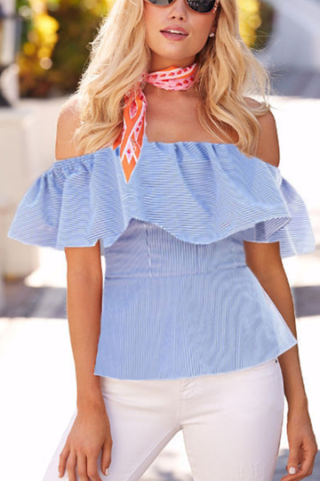 Sky Blue Off The Shoulder Blouses With Pleated Design