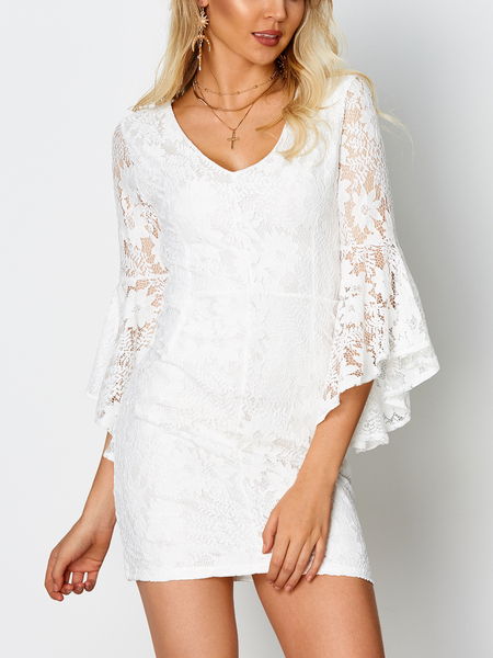 White Backless Lace Details Round Neck Flared Sleeves Mini Dress