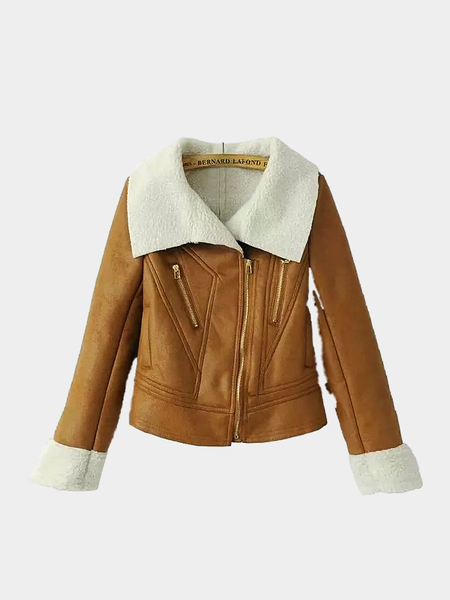 Suede Lapel Short Jacket