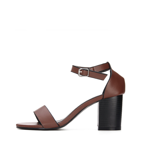 Brown Ankle Strap Peep Toe Chunky Heel Leather Look Sandals
