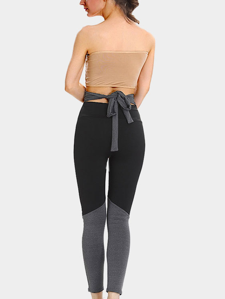 Black and Grey Self-tie Gym Leggings