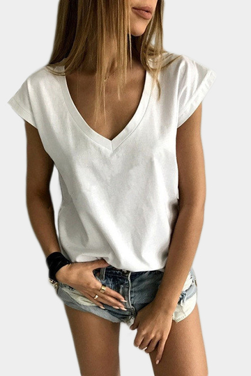 Low Cut V-neck Tee in White