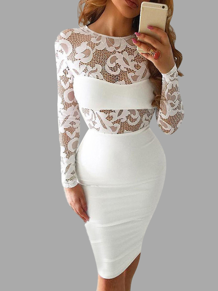 White Lace Sexy Round Neck Bodycon Midi Dress