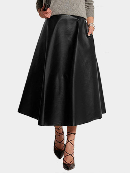Black Artificial Leather Maxi Full Skirt