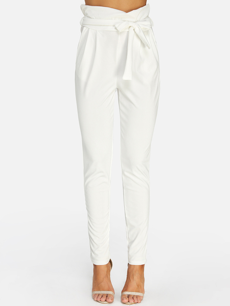 White Self-tie Embellished Pants