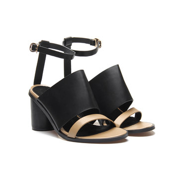 Black Leather Look Peep Toe Round Heel Apricot Strap Sandals
