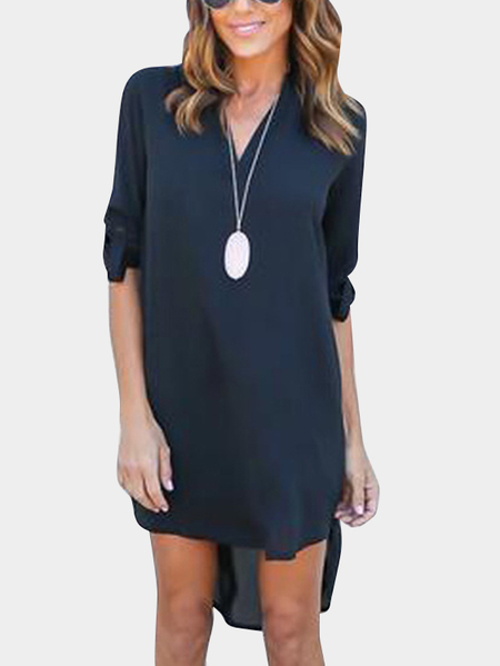 Navy V-neck Long Sleeves Irregular hem Chiffon Dress