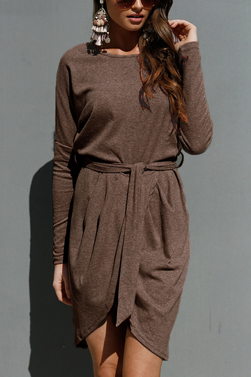 Coffee Tie-up Front Asymmetrical Mini Dress