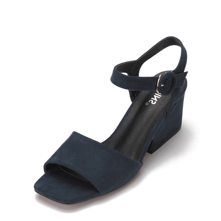 Navy Simple Heeled Sandal