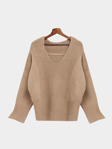 Khaki V-neck Bat Sleeves Loose Jumper