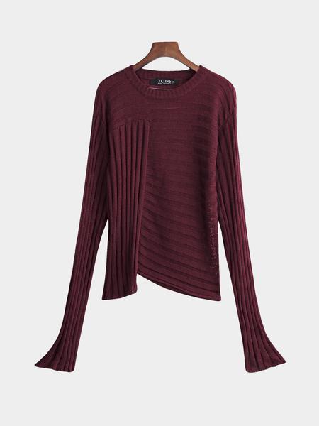 Burgundy Casual Knit Round Neck Irregular Hem Sweater