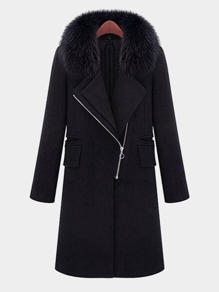 Zip Front Longline Coat with Artificial Fur Collar