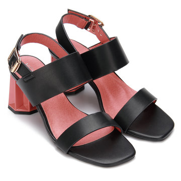 Black Leather Look Sling Back Heeled Sandals