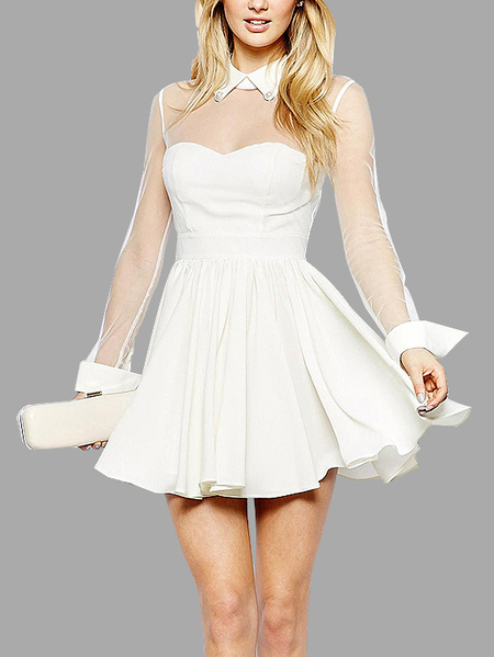 See-through Collar Lace Details Mini Dress