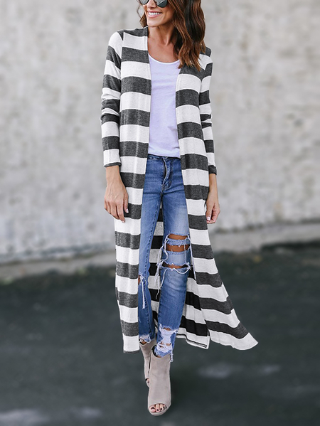 Grey Stripe Long Sleeves Slit Hem Longline Cardigan