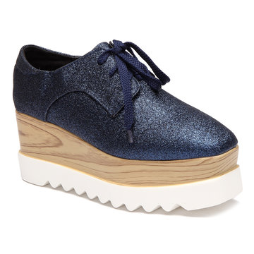 Blue Blitter Lace-up Design Platfrom Shoes