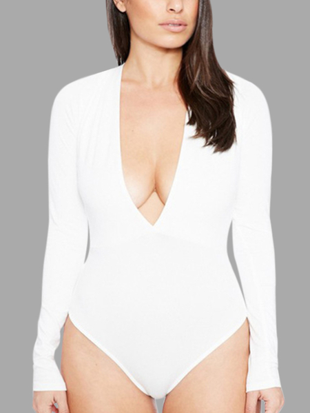 White Sexy Bodycon V-neck Long Sleeves Bodysuit