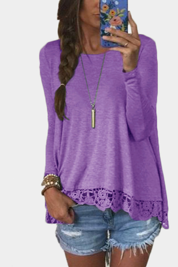 Purple Lace Details Round Neck Long Sleeves T-shirt