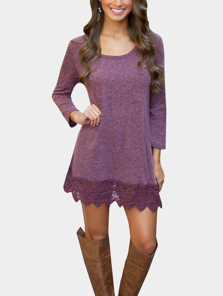 Purple Fashion Lace Trim Mini Dress