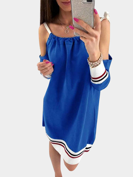 Blue Lace-up Design Cold Shoulder Long Sleeves Hoodie Dress