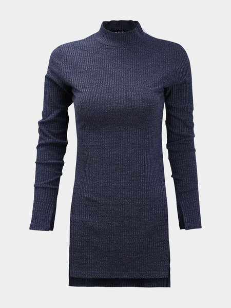 Long Sleeves High Neck Splited Hem Jumper
