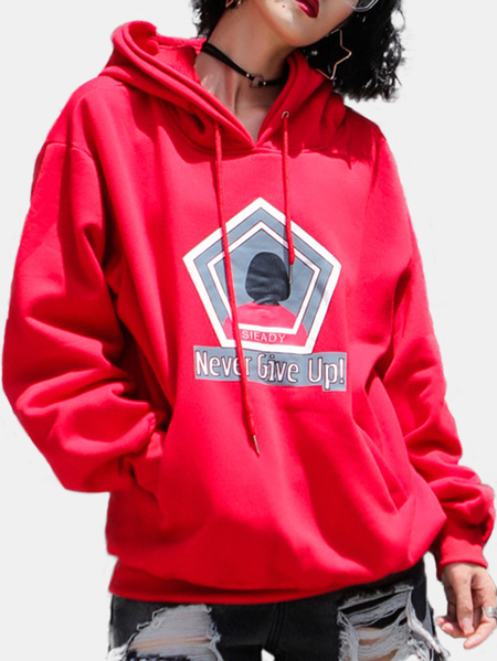 Active Round Neck Geometrical Pattern Sports Hoodies in Red
