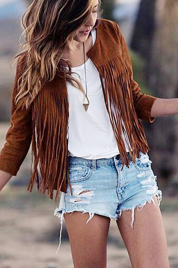Open Front Suede Jacket with Tassel Details