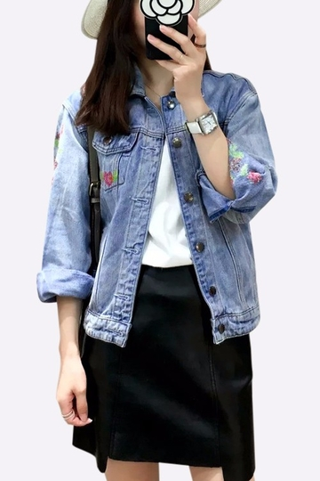Blue Embroidery Floral Print Pattern Denim Jacket with Side Pockets
