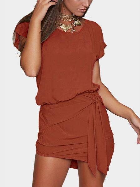 Orange Self-tie Design Round Neck Mini Dress