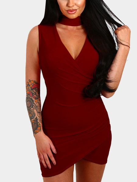 Red Wrap Choker Irregular Hem Mini Dress