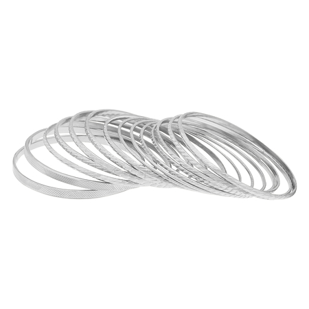 Silver Plated Layered Metal Bracelets